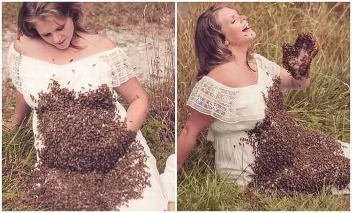 Беременная женщина устроила фотосессию с 20 000 пчел