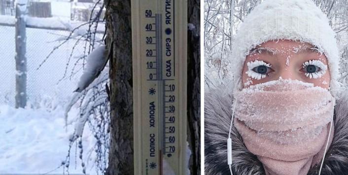 В Якутии  62 и трескаются градусники! Но это не мешает детям ходить в школу!
