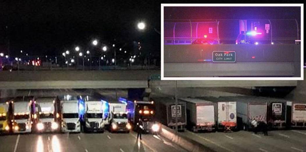 В США грузовики выстроились в линию под мостом, чтобы не дать мужчине покончить с собой!