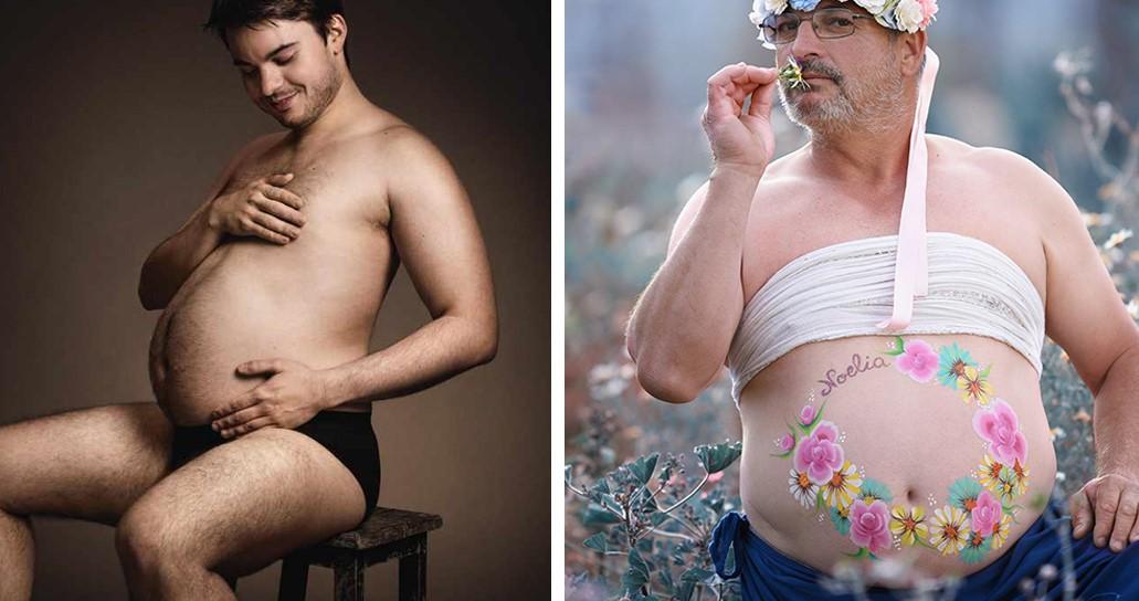 Мужчины с пивными животами в образе беременных мам!