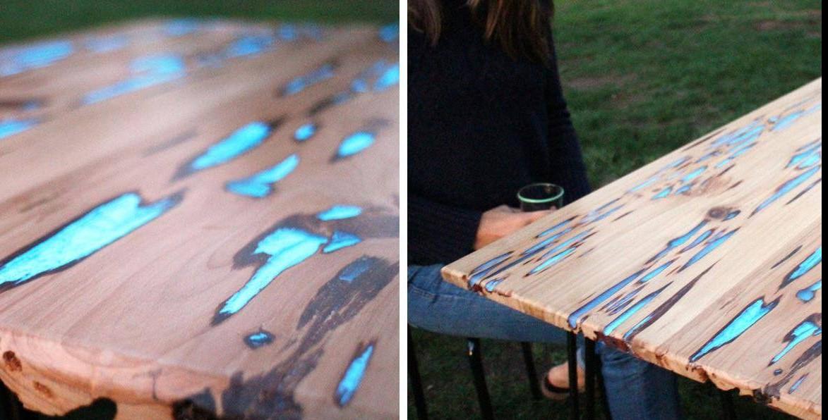 Как сделать светящийся в темноте стол с помощью фотолюминесцентной смолы!