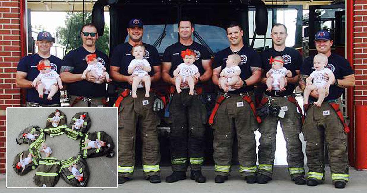 Семь пожарных из Оклахомы прославились, став отцами в течение года!