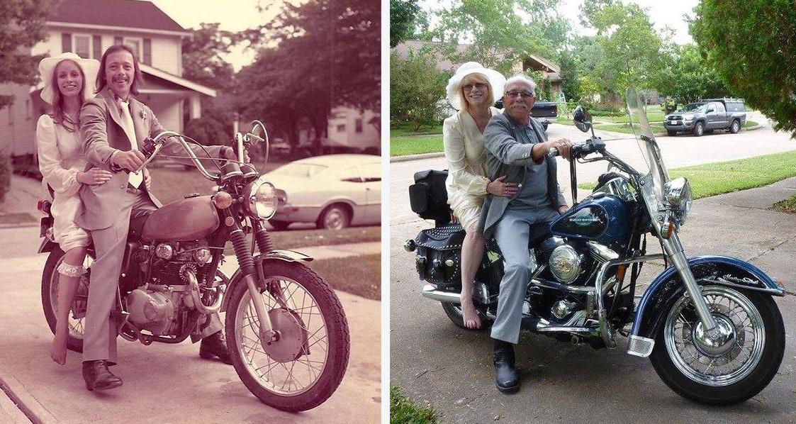Эта пара отметила 40-летие супружеской жизни, воссоздав свадебные фотографии 1975 года!