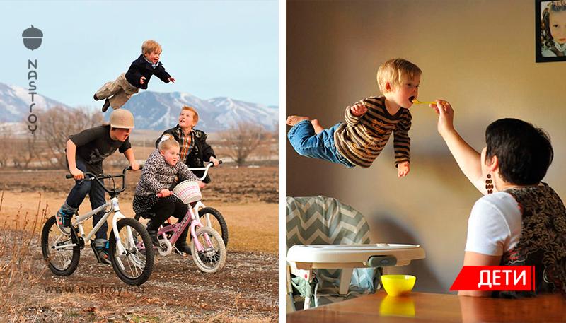 Отец сделал удивительную серию фотографий летающего сына, который страдает синдромом Дауна!
