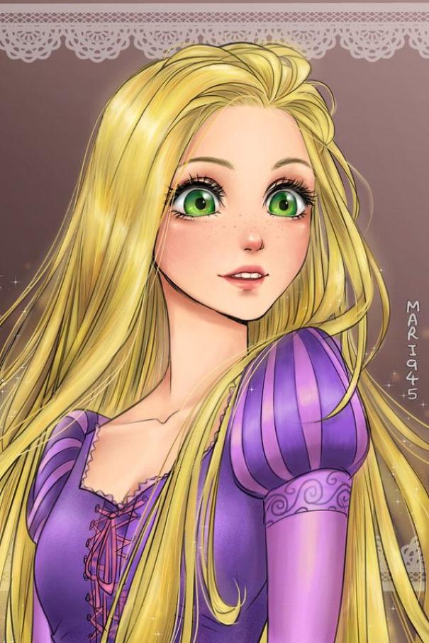 14 диснеевских принцесс нарисованных в стиле аниме