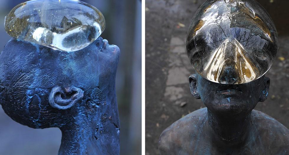 Удивительная скульптура человека с огромной дождевой каплей на лице, которая находится на Украине!