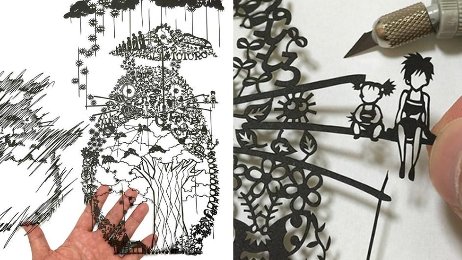 Японский художник вырезает из бумаги изящные детализированные фигуры!