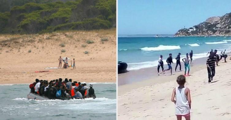 Прямо на пляж в Испании приехала лодка с мигрантами!