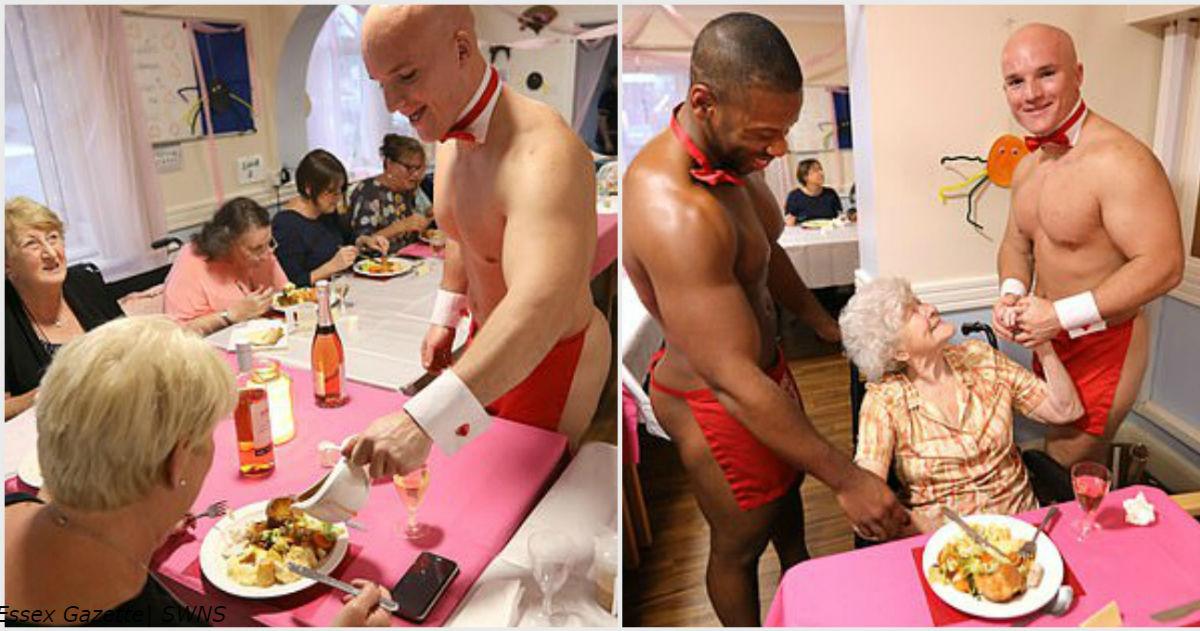 Женщин из дома престарелых поздравили голые качки официанты! Вот как все было