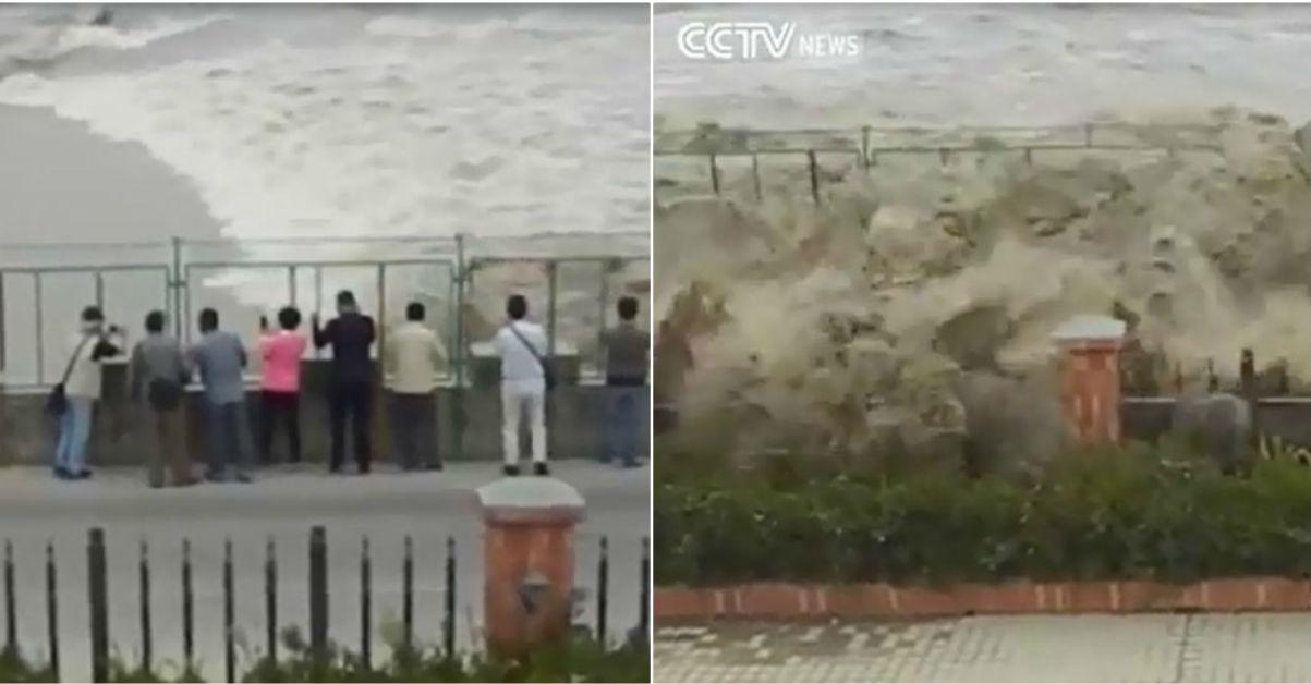Страшные кадры: цунами смыло десяток идиотов, которые хотели снять его для соцсетей