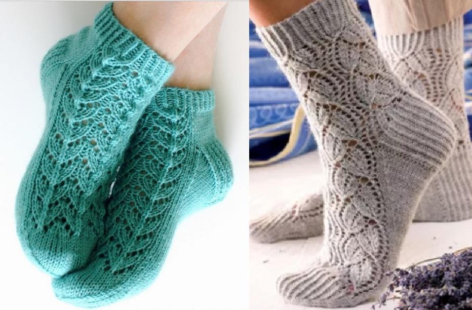 ажурные носки спицами узоры и схемы для вязания носков интересные идеи