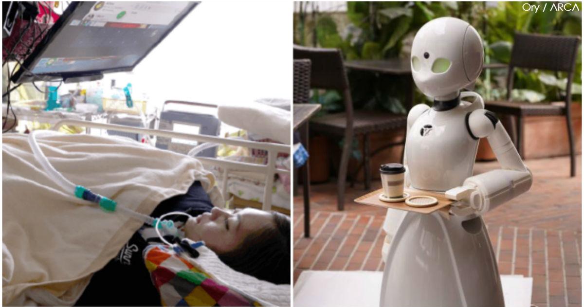 Кафе в Японии берет на работу лежачих инвалидов: они управляют роботами-официантами