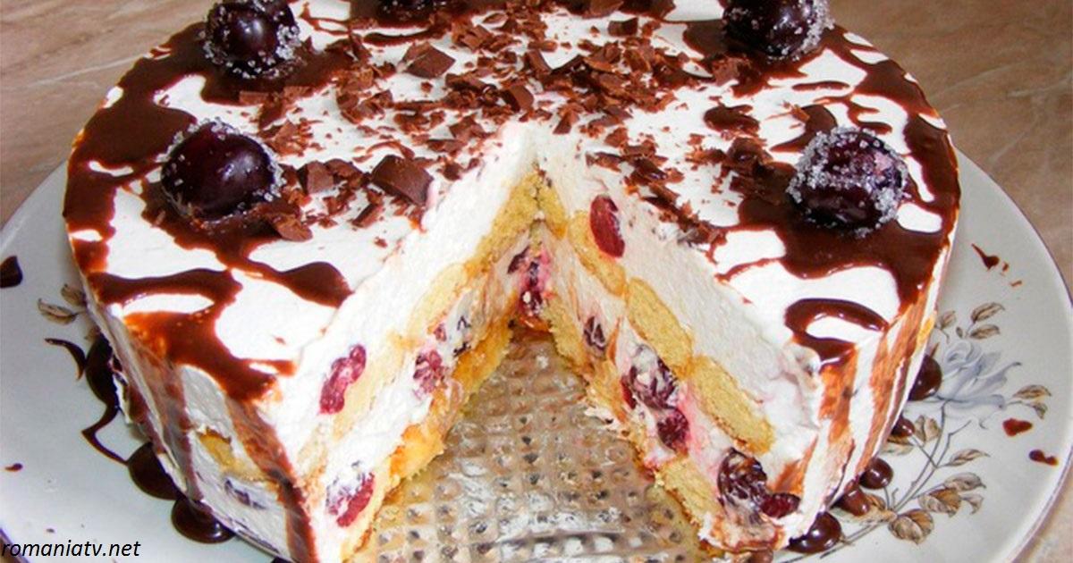 Торт с вишней и савоярди. Просто, вкусно и без выпечки