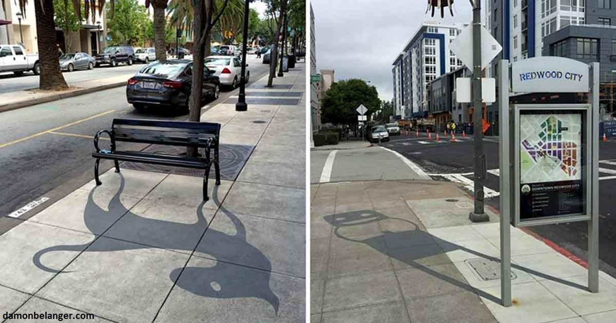 Уличный художник рисует фальшивые тени, чтобы запутать пешеходов