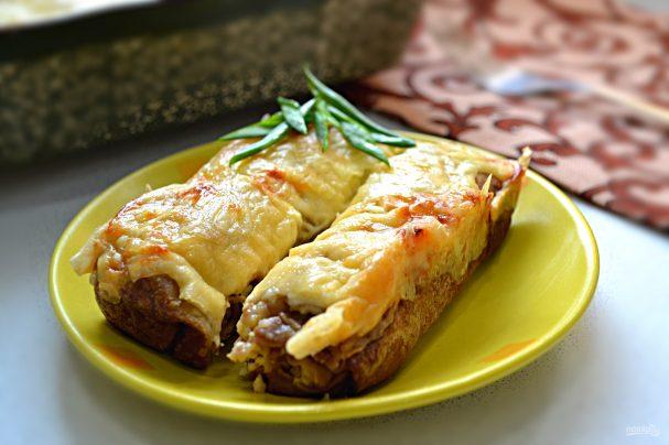Блинчики, запеченные под сыром