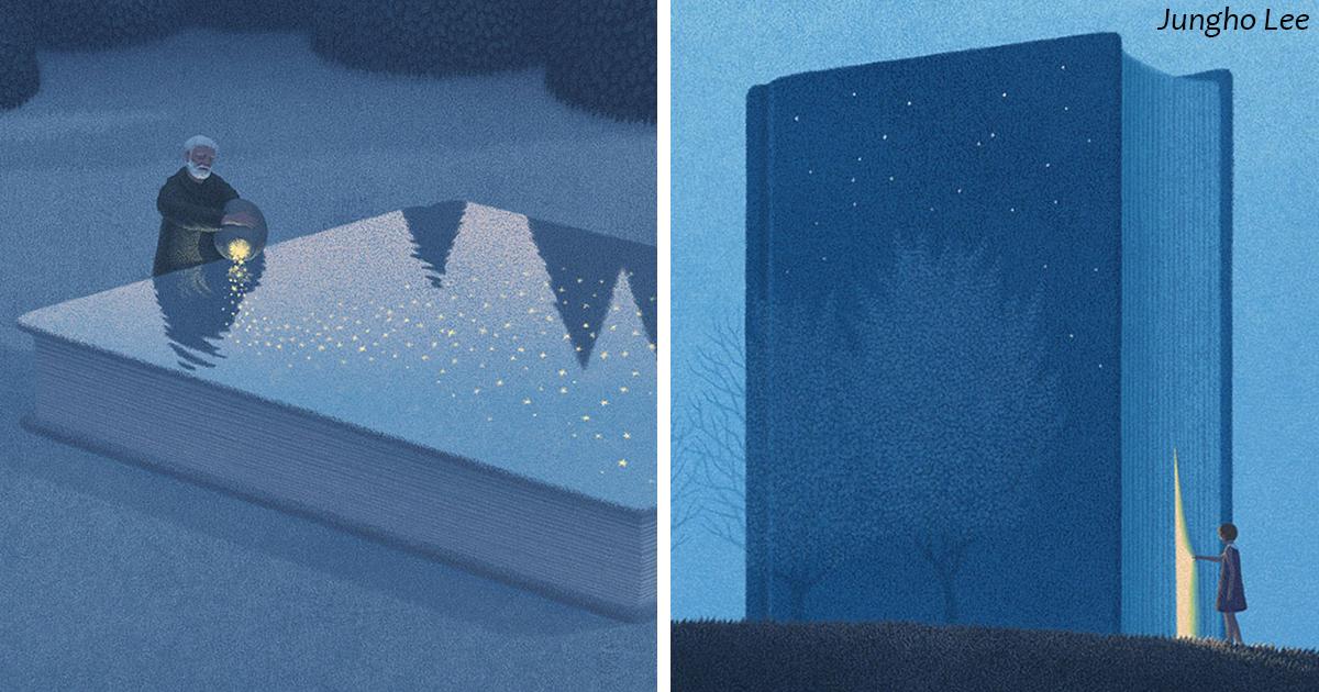 Художник из Сеула рисует сюрреалистичные картинки для любителей книг