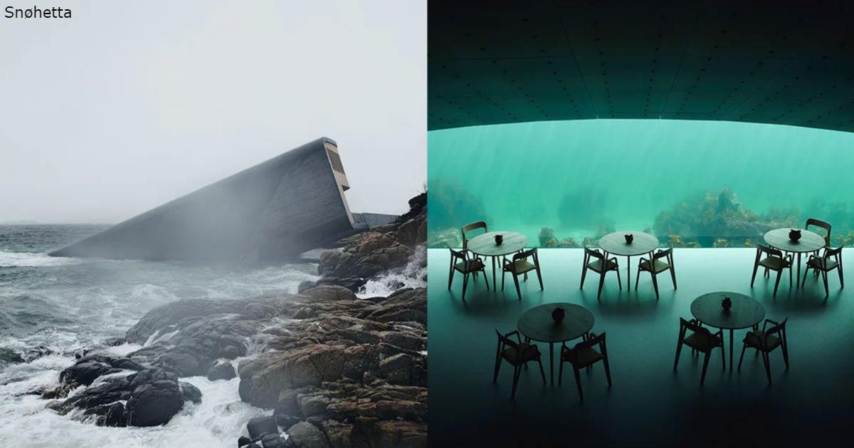На фото   подводный ресторан в Норвегии. Вот как он выглядит изнутри