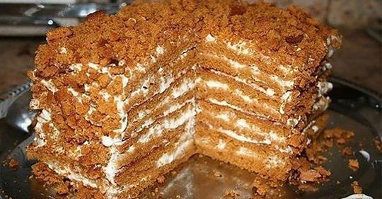 Простой медовый тортик, для тех, кто не любит раскатывать тесто.