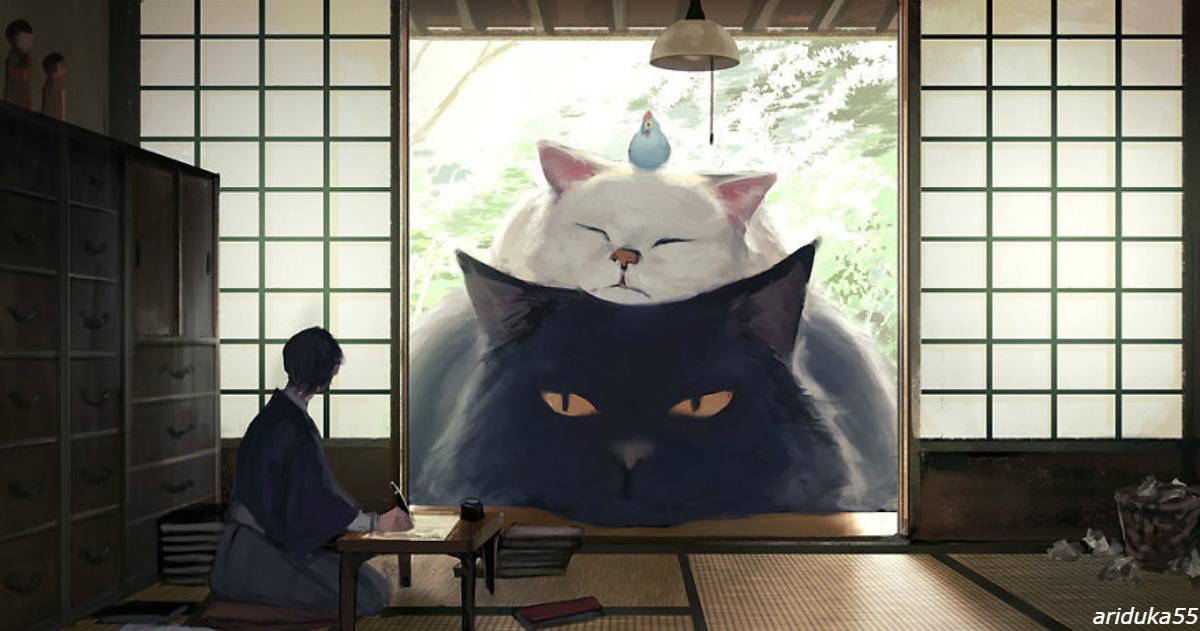 Японский иллюстратор воображает мир, в котором люди живут среди гигантских животных