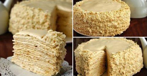 Торт «Наполеон» с очень вкусным кремом.