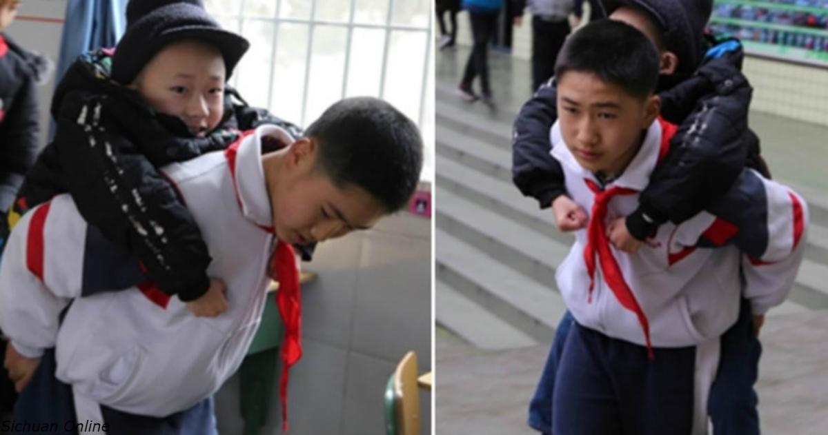 12 летний школьник уже 6 лет подряд носит друга инвалида на своей спине