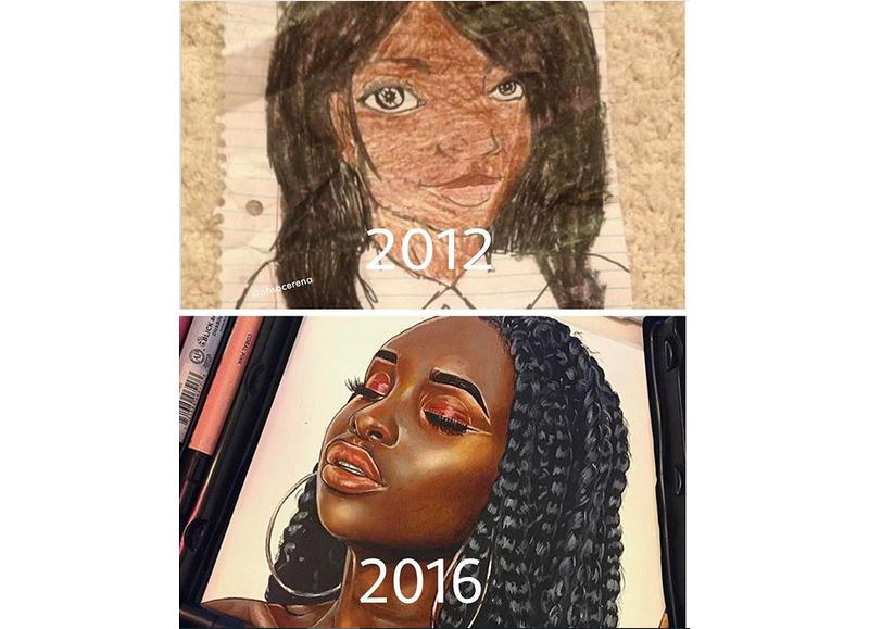 16-летняя самоучка сравнивает свои работы сейчас и 4 года назад. Талант - это практика!