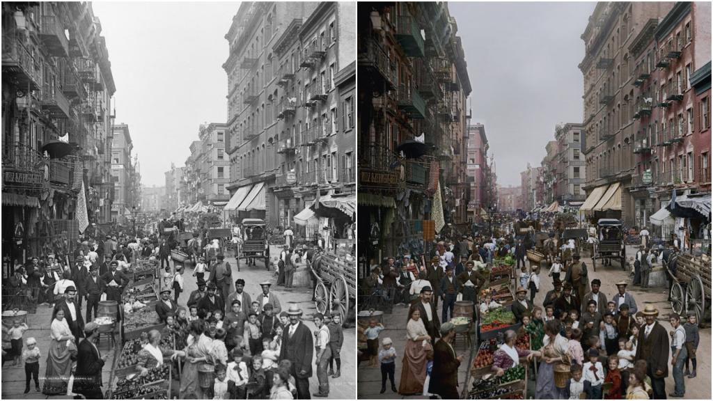 История ожила. Старым черно-белым снимкам придали цвет: фото до и после