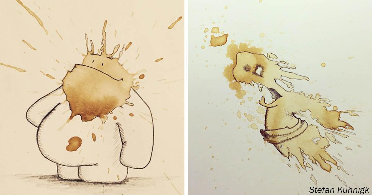 Художник превращает кофейные кляксы в очаровательных монстриков