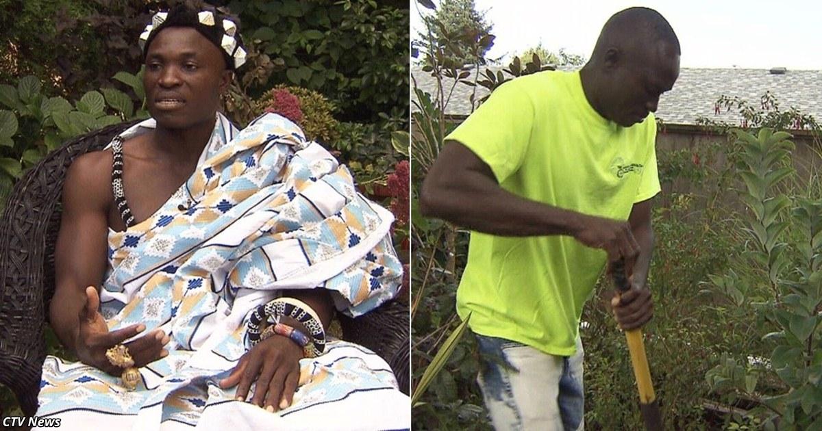 Король африканского племени работает садовником в Канаде, чтобы прокормить свой народ