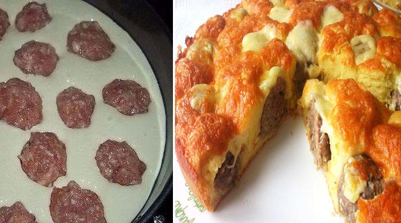 Пирог с фрикадельками под сырной корочкой. Очень вкусный и сытный пирог