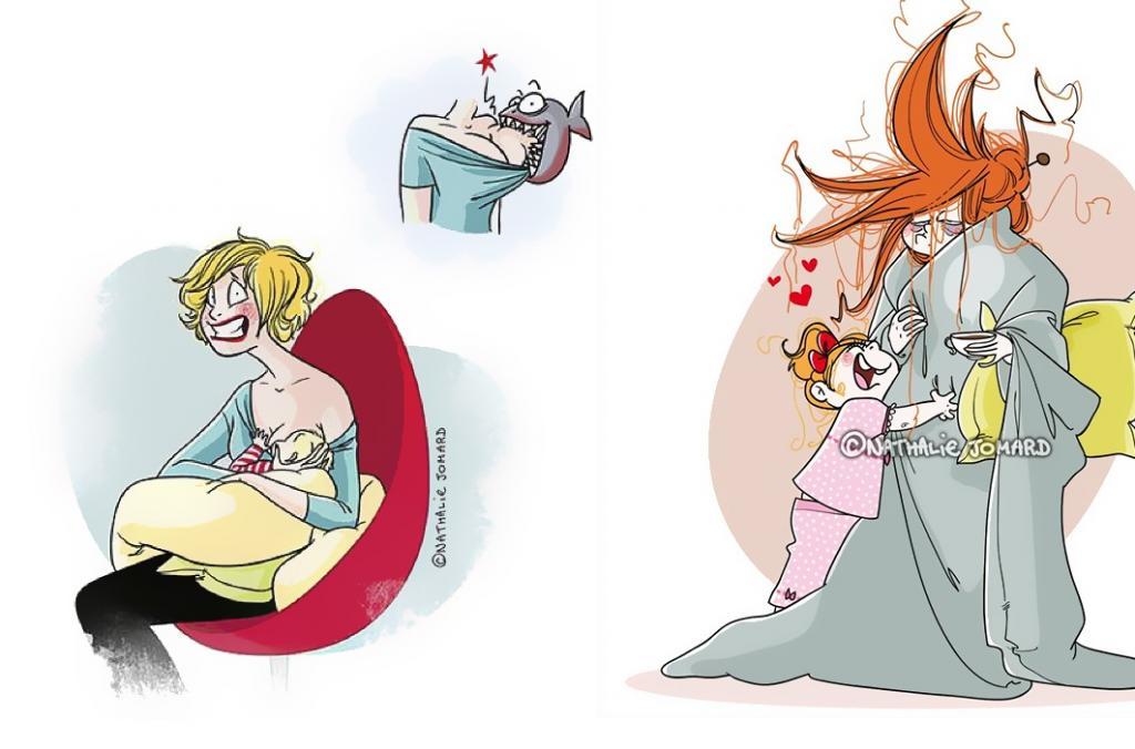 Иллюстратор из Франции доказала, что мама   самая трудная и ответственная работа в мире (забавные карикатуры)