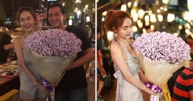 На день рождения девушка подарила парню букет цветов, который его очень обрадовал