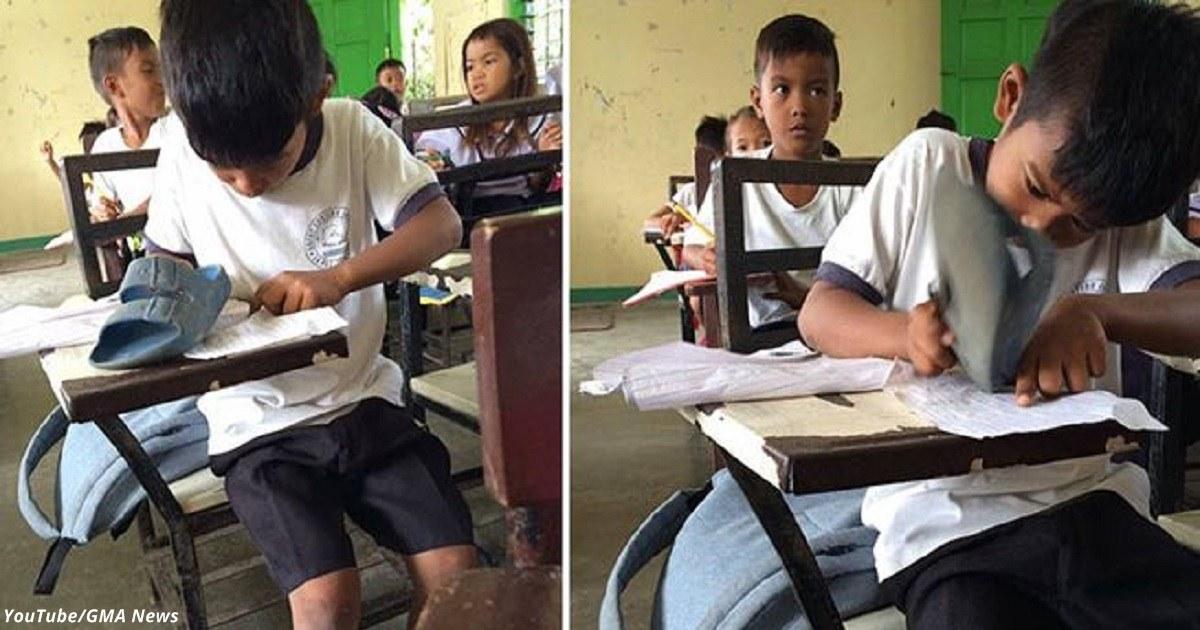 Мальчик, у которого не было денег на ластик, использовал резиновый тапок вместо него