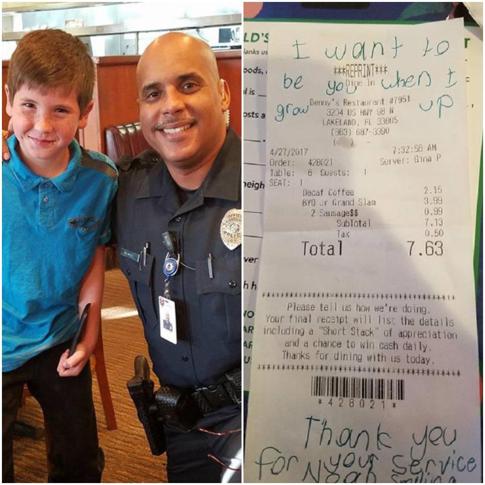 Мальчик на чеке написал записку и протянул полицейскому: офицера тронули слова ребенка, который хотел стать в будущем таким же, как он