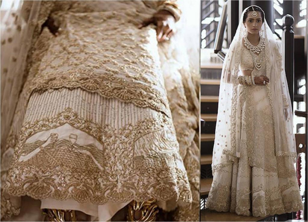 Талантливая невеста рукодельница вышила на свадебном платье историю своей любви (фото)