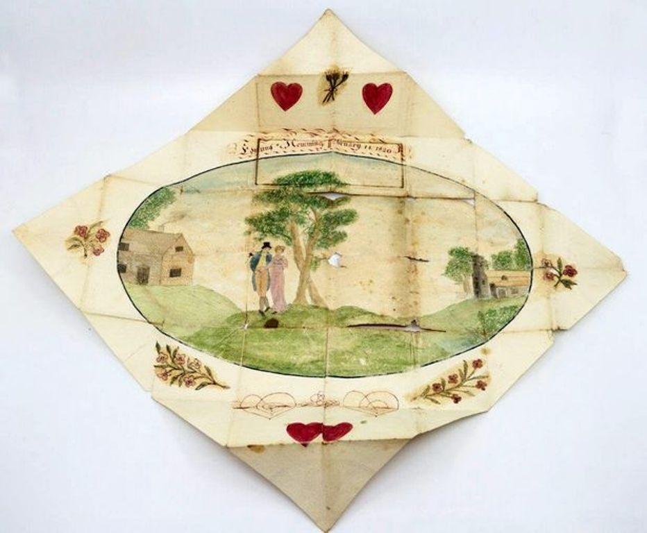 Девушка перебирала старые бабушкины вещи и нашла там валентинку, датированную 1820 годом, в которой раскрывается история любви молодой пары в реальной жизни