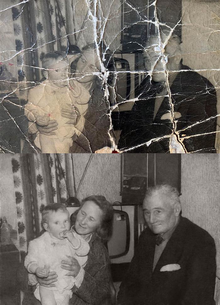 Дорогие сердцу воспоминания: снимки из семейного альбома были испорчены, но их удалось восстановить. Результат впечатляет (фото до и после)