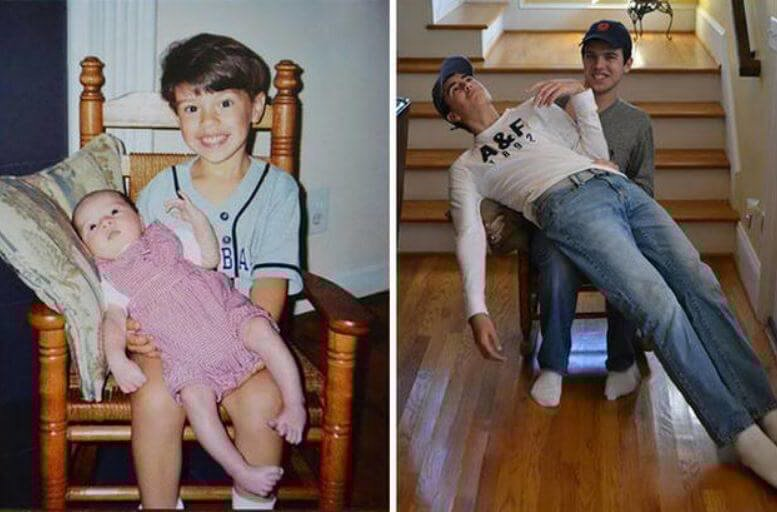 Когда в душе ты еще ребенок: взрослые воссоздают свои детские фото
