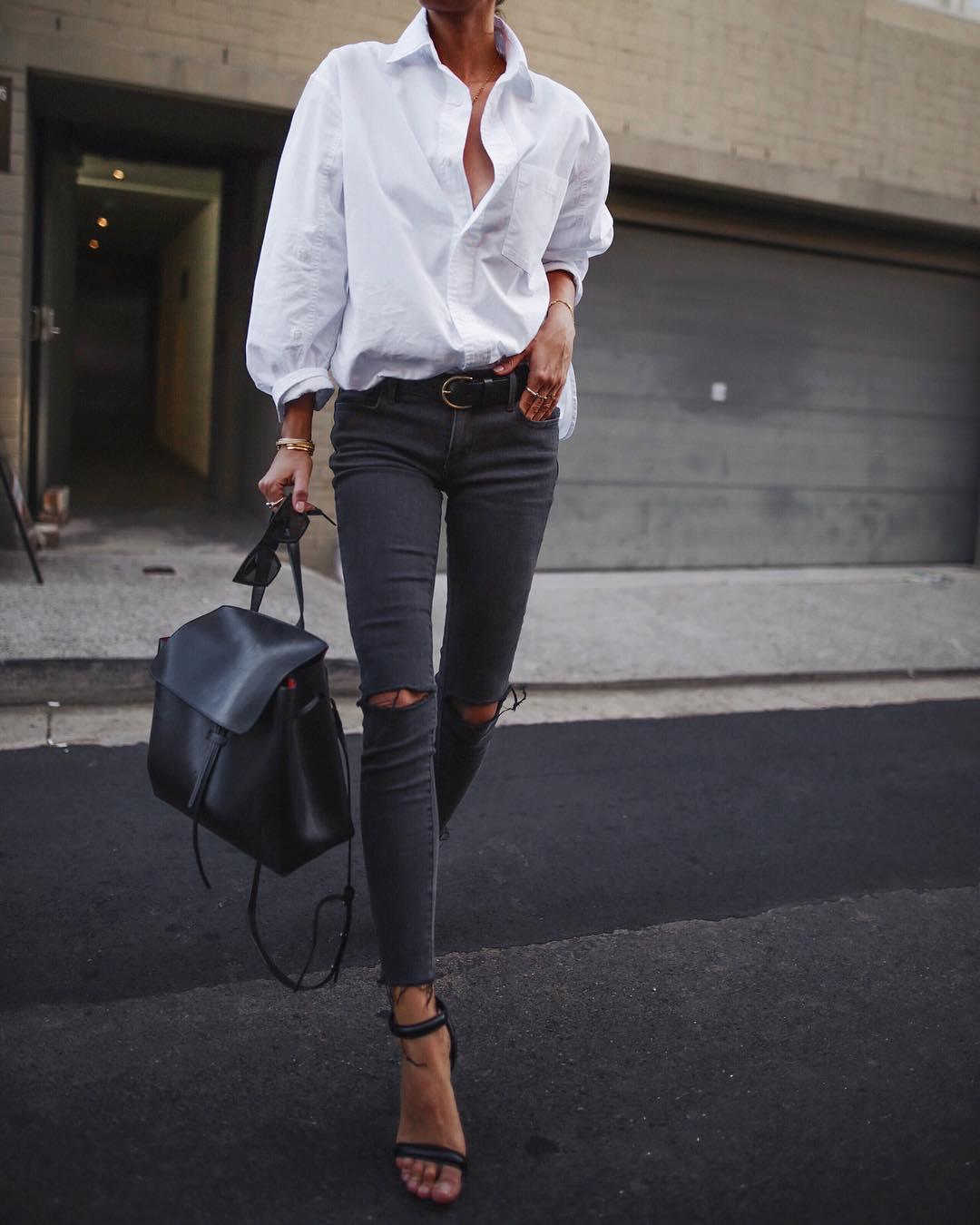 Роскошная подборка образов с белой рубашкой и джинсами — универсально для всего!