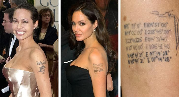 Джоли сделала тату на плече с координатами детей, чтобы стереть имя бывшего мужчины. Звезды, которые набили тату по веской причине