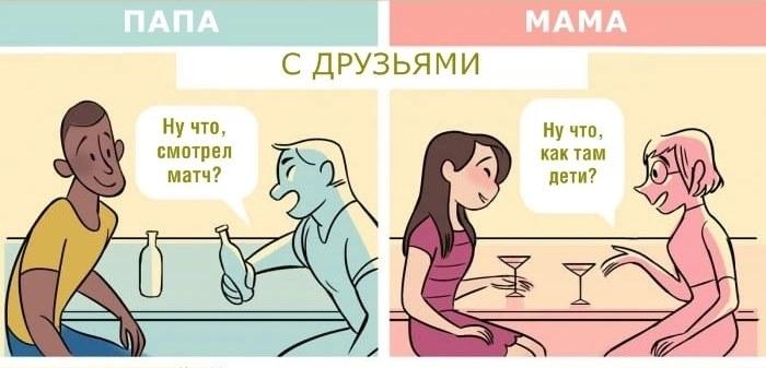 5 картинок, которые показывают, насколько разное отношение к мамам и папам