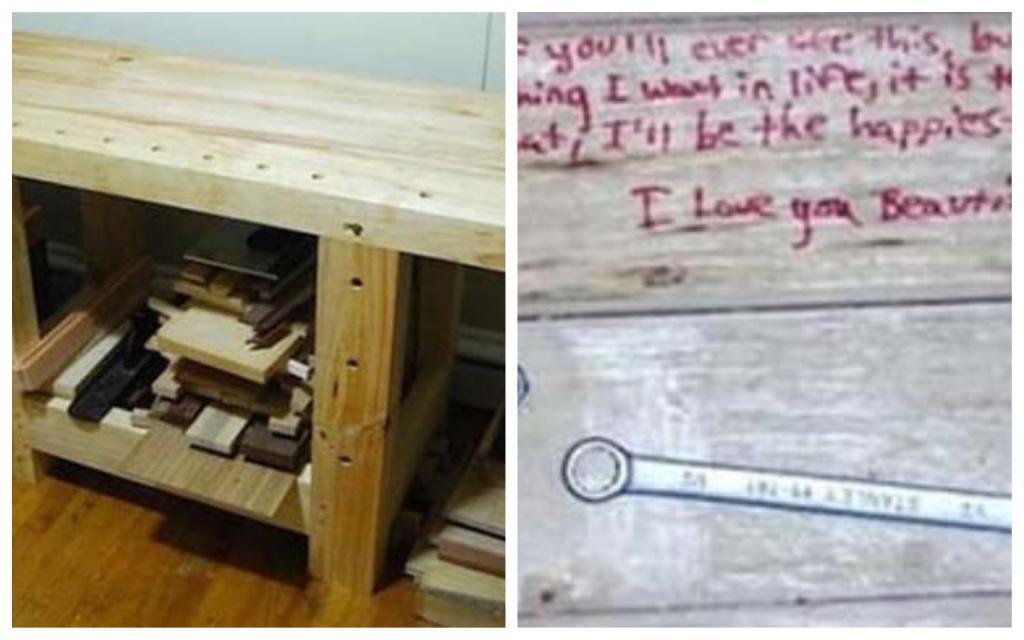 После смерти отца столяра его сын решил починить сделанный папой столик. На обратной стороне он нашел нежное послание для его мамы
