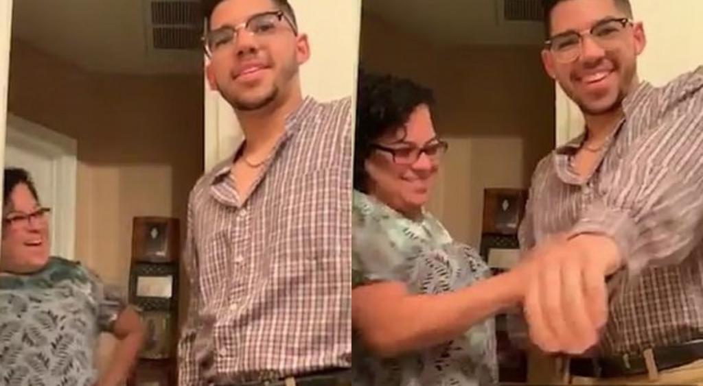 Женщина была растрогана до слез, когда увидела сына, одетого в рубашку отца
