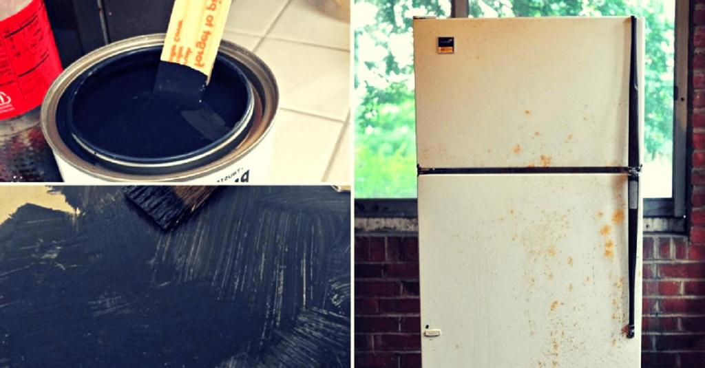 Пока была на работе, муж перекрасил холодильник. Наши друзья оценили результат и захотели его повторить на своей кухне