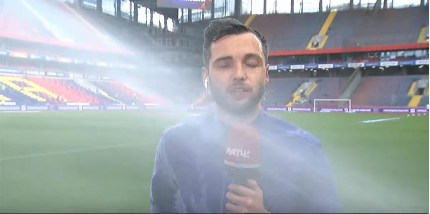 Матч состоится в любую погоду: корреспондент «Матч ТВ» Евгений Евневич провел репортаж под струями воды