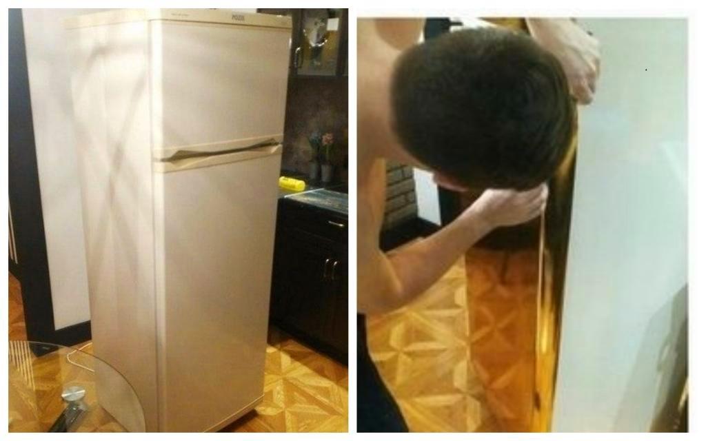 Старый холодильник не вписывался в дизайн кухни. И муж решил его переделать