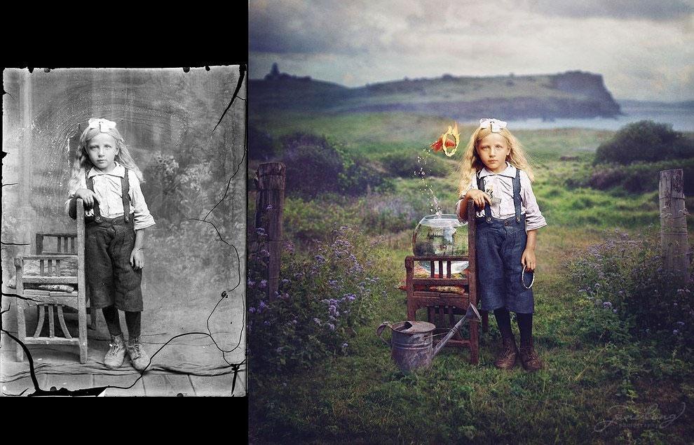 Фотограф превращает винтажные фото в сюрреалистические предметы искусства