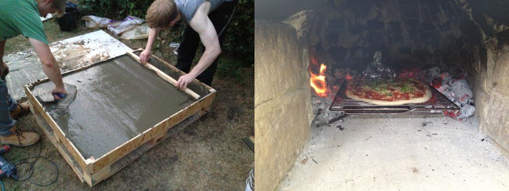 Парни залили поддон цементом и построили на нем печь. Теперь всей семьей приходим к ним  на пиццу