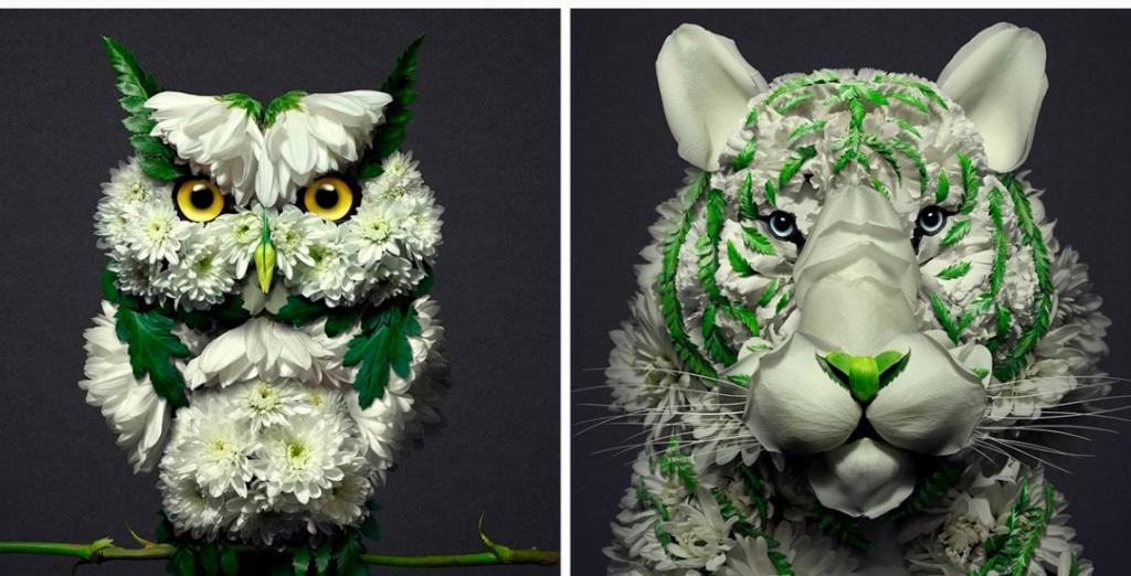 Художник превращает цветы в скульптуры животных, и его работы прекрасны
