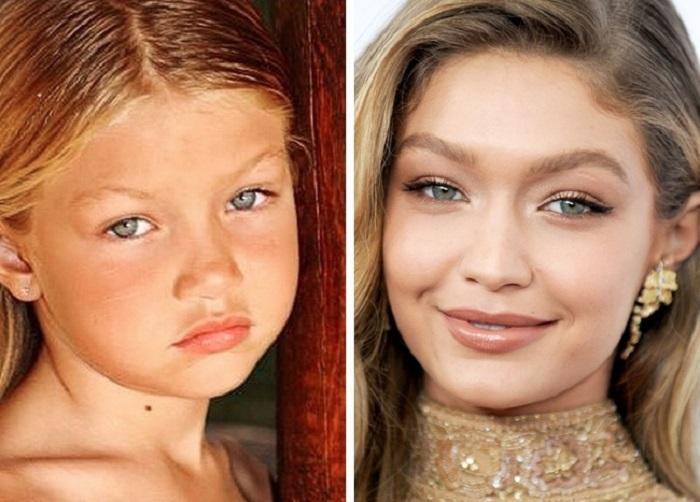 Гены или пластическая хирургия? Фото известных красавиц в детстве: черты лица Джиджи Хадид почти не изменились